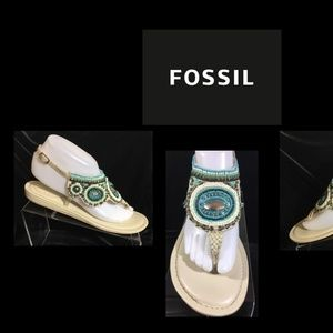 Beaded Fossil Sandals size 8